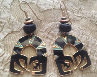 Laurel Burch LIZARD SPIRIT Cloisonne Earrings French Earwires RARE Vintage Jewelry 1980s Black Turquoise Russet