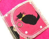Organic Extra Absorbent Moonpads Washable Cotton Reusable Cloth Menstrual Pads- MEOW- Pink fabric with Black Cats