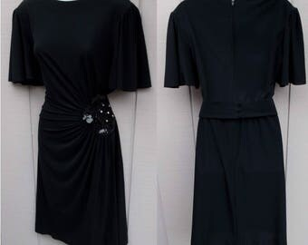 70s to 80s Vintage RIMINI Black Drape Jersey Disco Dress / Wrap Bodice with Sequins - Party Dress // Sz Med