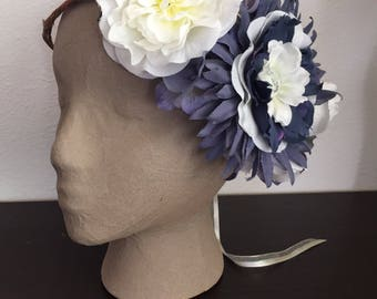 September Sky -  Navy and White Asymmetrical Floral Fairy Crown