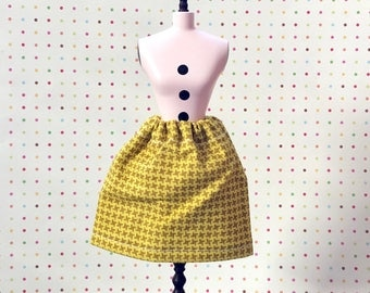 Citron Houndstooth Simple Swing Skirt for Blythe