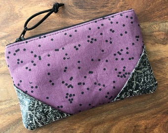 Small Zip Pouch - Dark Plum Scattered Dots