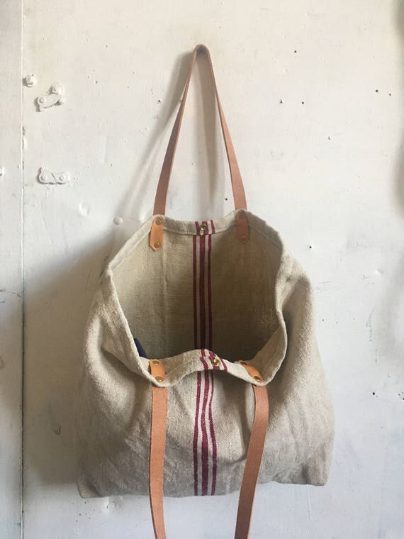 Antique linen beach tote