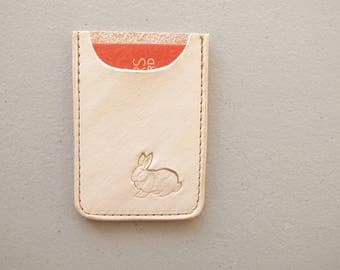 Leather Card Sleeve, Bunny, Business Card Sleeve, Micro Wallet, Stamped Leather, Handmade in Canada, Gift for Him, Rabbit Wallet, Gift