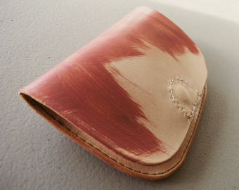 Minimalist Wallet,  Nude VegTan Leather, Brush Strokes, Hand Painted, Gift for Her, Valentines, Galentines, Made in Canada, Modern Leather