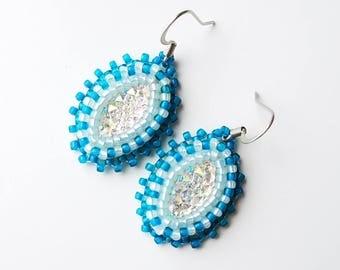 Small Turquoise & Aqua Beaded Earrings
