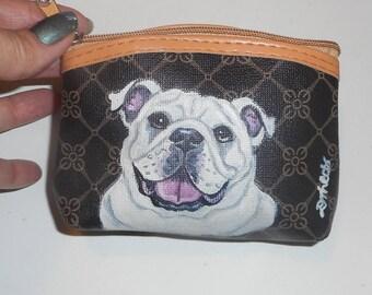 English Bulldog Hand Painted Coin Purse OOAk Mini Wallet Change purse