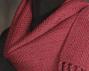 Red scarf / winter scarf / merino wool scarf / handwoven scarf