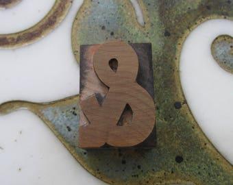 Ampersand Vintage Letterpress Wood Type Printing Block