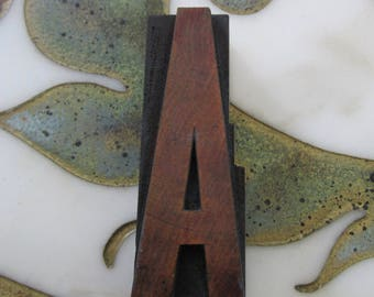 Letter A Antique Letterpress Wood Type Printing Block