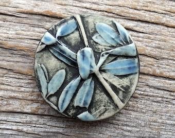 Handmade Ceramic Cabochon   Blue Leaves    by Mary Harding