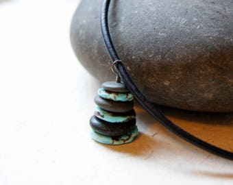Turquoise and Black River Rock Cairn Necklace with black leather cord - FREE GIFT WRAP