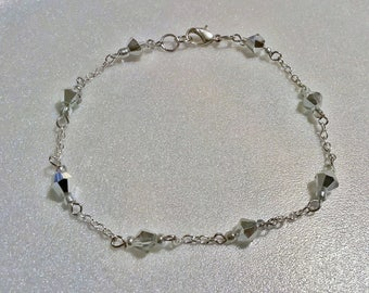 """10"""" Silver Crystal Beaded Chain Anklet"""
