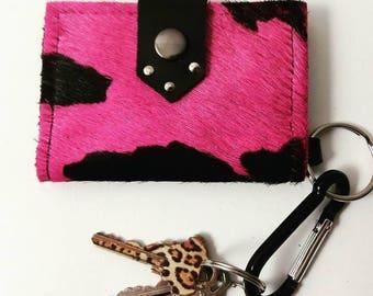 Hot Pink & Black Hair on Hide Keychain Wallet