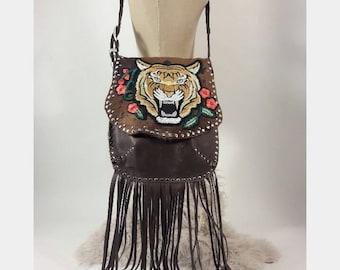 Hair on Hide Tiger Bag in Brown