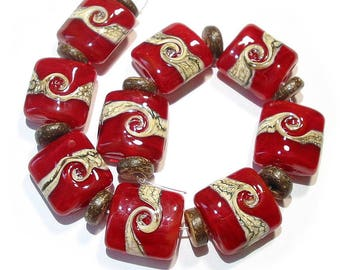 Handmade Glass Lampwork Beads, Red Silvered Ivory Twist Nuggets