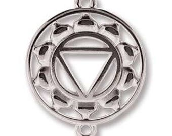 Solar Plexus Chakra, 25mm x 20mm Antique Silver Link, Pendant, Charm, 2 pcs (PAIR)