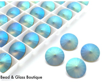 Swarovski Crystal Rivoli, #1122, 14mm, 4 pieces, *CUSTOM* Pastel Olivine