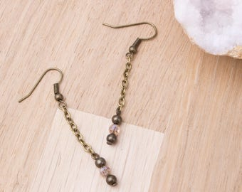 Bronze chain earrings with Champagne glass and bronze bead dangles | Crystal jewellery | Long earrings | Boho jewelry earrings