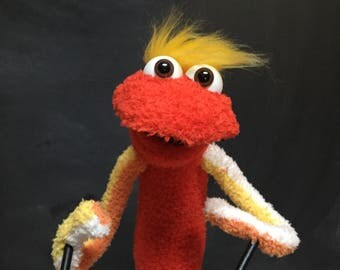 Sock Puppet Creature, Hand and Rod Puppet, Stretchy, Yellow Blonde Hair, Orange, Striped Arms, Brown Eyes, Arm Rods