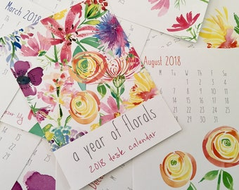 2018 Year of Florals Desk Calendar - Watercolor Floral Desk Calendar - Calendar of Watercolor Flowers - 12 Months of Watercolor Flowers