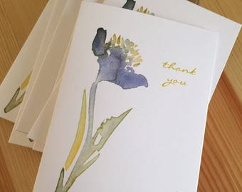 Iris Thank You Note Cards - Watercolor Iris Thank You Note Cards - Floral Watercolor Thank You Notes - Flower Thank You Cards - Box of 6