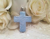 Blue Cross Pendant, Optional Necklace, Christian Jewelry, Religious Jewelry, Light Blue Jewelry, First Communion Gift, Handmade Polymer Clay