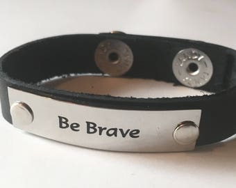 Leather Cuff Quote Wristband Word Bracelet Black Brown Be Brave