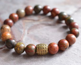 Beck - Brick Red Jasper Mens Stretch Bracelet