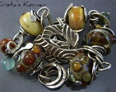 RESERVED Sterling Silver Wire, Boro Lampwork & PMC Gemstone Link Bracelet