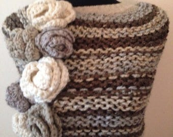 SALE Striped Multicolored Statement Cowl Wrap, Oatmeal, Chocolate, Gray Neck Warmer Crochet Flowers OOAK