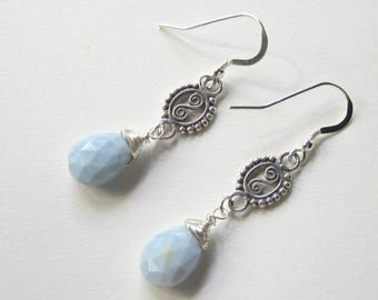 Long  Blue Opal Earrings, Peruvian Blue, Multi Faceted Oval Teardrops, Wire Wrapped, Sterling Silver, Anniversary Gift, For Someone Special