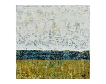 ORIGINAL Abstact Painting, GeoHorizon 77 by Lisa Carney, Acrylic on Wood, Modern Art, Contemporary, Minimalist, Rustic, ochre, blue, white