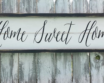 HOME SWEET HOME Sign| Farmhouse Sign | Farmhouse Decor | Rustic Wood Sign | Distressed Wood | Rustic Wall Decor | Housewarming Gift |Realtor
