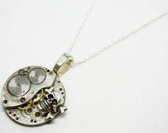 Steampunk Skull Pendant - Vintage Old Watch Altered Mixed Media Slide Jewelry with Necklace