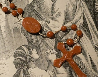SALE CARAMEL PLASTIC Rosary Highly Detailed Religious Kitsch