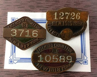 SALE 1pc NY CHAUFFEUR Badge Antique Your Pick