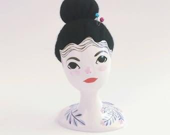 Ceramic Gentlewoman Pincushion no. 56