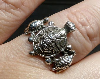 3 Turtle Sterling Silver Ring Mother's band children size 8 big thick