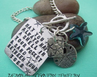 Scriptz BEACH theme Charm Bracelet - hand stamped sterling silver - may be custom personalized
