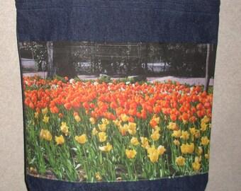 New Handmade Bright Tulips Flowers Original Photograph Photo Large Denim Tote Bag