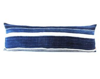 Vintage Textile African Mud Cloth Indigo Striped Long Lumbar Pillow - Boho Linen Decorative Pillow-Down Filler Included