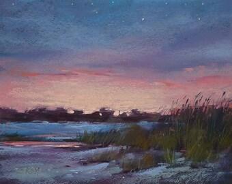 LowCountry Sunset Island Landscape ART Original Pastel Painting