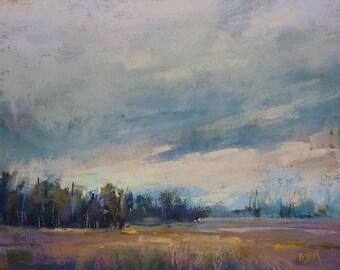 Autumn Marsh Fall Landscape Moody Original Pastel Painting Karen Margulis