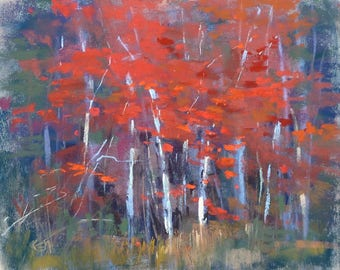 Autumn CONTEMPORARY landscape Red Trees  Original Pastel Painting  Karen Margulis 8x10