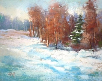 Winter Landscape Fir Tree Contemporary Original Pastel Painting  Karen Margulis