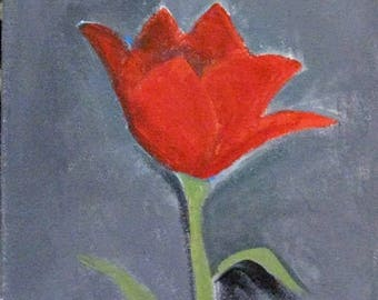 The Last Tulip, acrylic on canvas board, original art, red flower