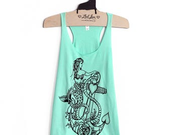 SALE M,L,XL -Tri-Blend Mint Racerback Tank with Mermaid Anchor Screen Print