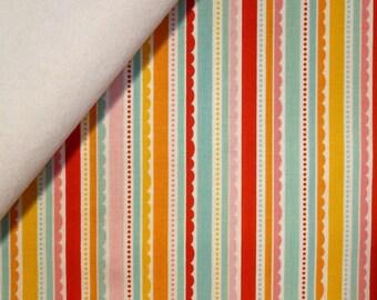 Happy Day fabric felt  :  Multi Scallop Stripes on White
