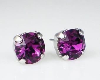 SUMMER SALE Amethyst Rhinestone Stud Earrings Swarovski Violet Purple Wedding Jewelry Flower Girl Earrings Bridesmaid Earrings